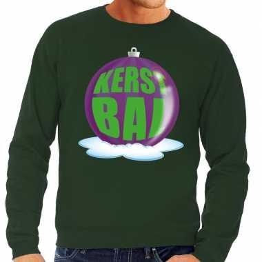 Foute kersttrui kerstbal paars op groene sweater heren