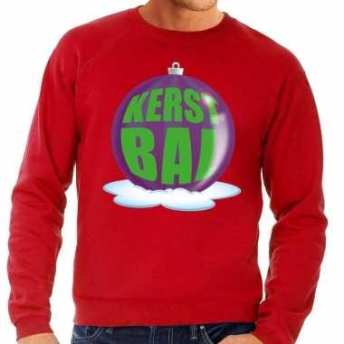 Foute kersttrui kerstbal paars op rode sweater heren