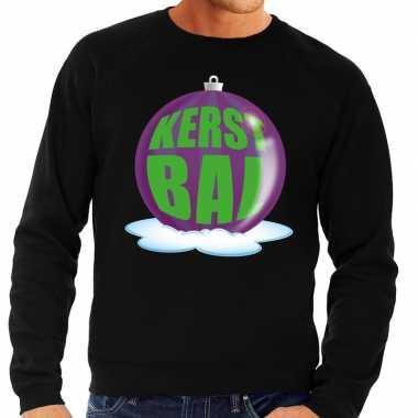 Foute kersttrui kerstbal paars op zwarte sweater heren