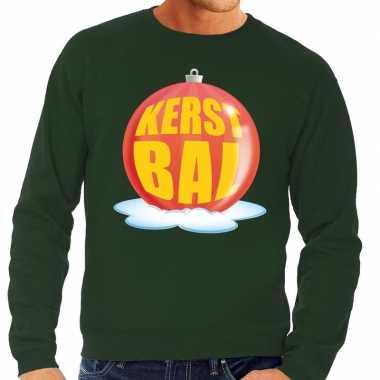 Foute kersttrui kerstbal rood op groene sweater heren