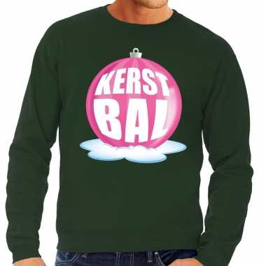 Foute kersttrui kerstbal roze op groene sweater heren