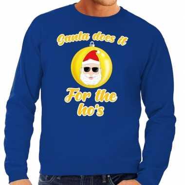 Foute kersttrui kerstman does it for the ho's blauw heren