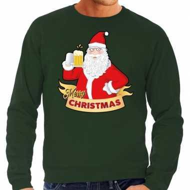 Foute kersttrui kerstman een pul bier groen heren