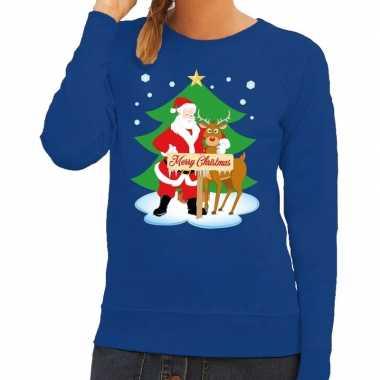 Foute kersttrui kerstman rendier rudolf blauw dames