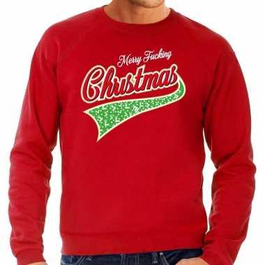Foute kersttrui merry fucking christmas rood heren