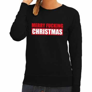 Foute kersttrui merry fucking christmas zwart dames