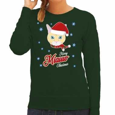 Foute kersttrui merry miauw christmas kerst kat groen dames