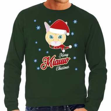 Foute kersttrui merry miauw christmas kerst kat groen heren