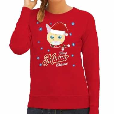 Foute kersttrui merry miauw christmas kerst kat rood dames