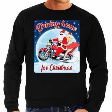 Foute kersttrui motorliefhebbers driving home wart heren