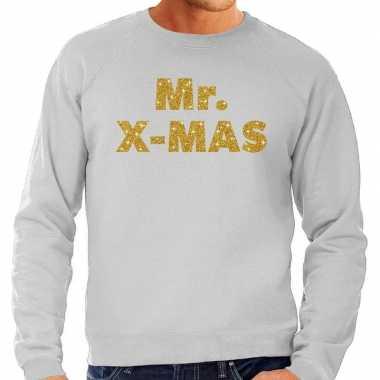 Foute kersttrui mr. x mas gouden glitter letters grijs heren