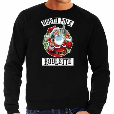 Foute kersttrui / outfit northpole roulette zwart heren