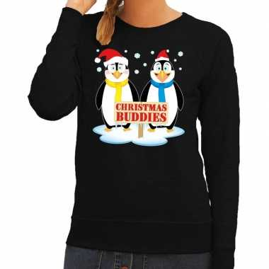 Foute kersttrui pinguin vriendjes zwart dames