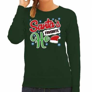 Foute kersttrui santa his favorite ho groen dames