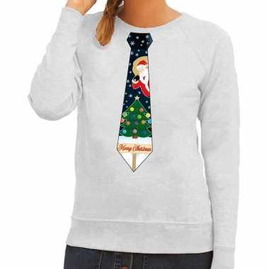 Foute kersttrui stropdas kerst print grijs dames
