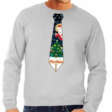 Foute kersttrui stropdas kerst print grijs heren