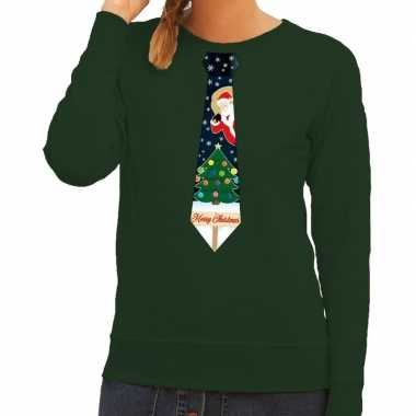 Foute kersttrui stropdas kerst print groen dames