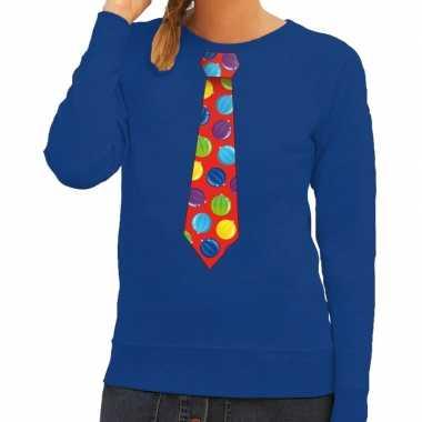 Foute kersttrui stropdas kerstballen print blauw dames