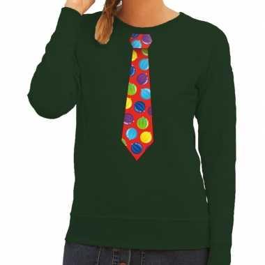 Foute kersttrui stropdas kerstballen print groen dames