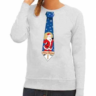 Foute kersttrui stropdas kerstman print grijs dames
