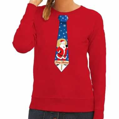 Foute kersttrui stropdas kerstman print rood dames