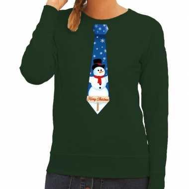 Foute kersttrui stropdas sneeuwpop print groen dames