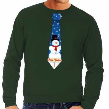 Foute kersttrui stropdas sneeuwpop print groen heren