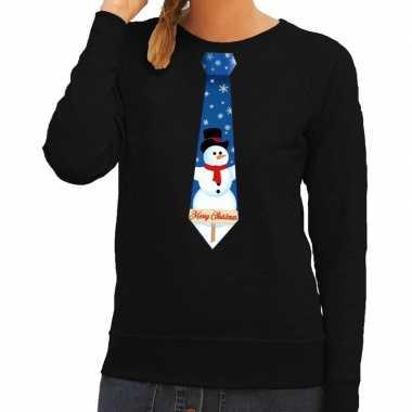Foute kersttrui stropdas sneeuwpop print zwart dames