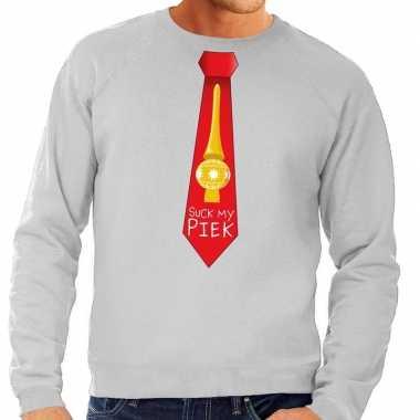 Foute kersttrui stropdas suck my piek grijs heren