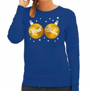 Foute kersttrui / sweater blauw kerst ballen dames