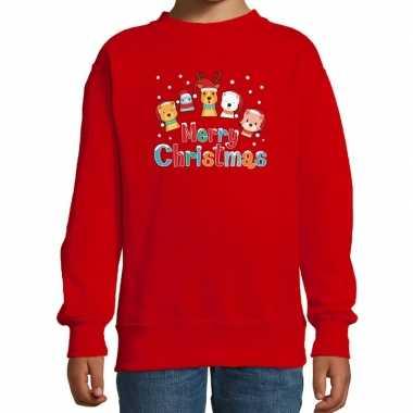 Foute kersttrui / sweater dieren merry christmas rood kids