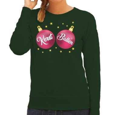 Foute kersttrui / sweater groen roze kerst ballen dames