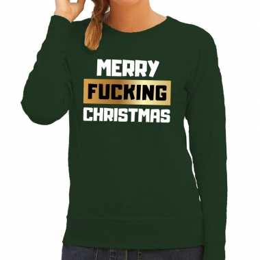 Foute kersttrui / sweater merry fucking christmas groen dames