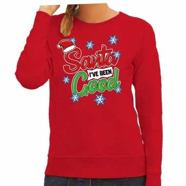 Foute kersttrui / sweater santa i have been good rood dames