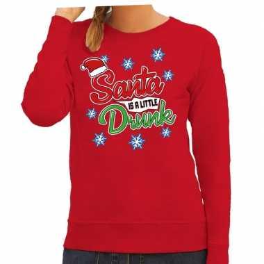Foute kersttrui / sweater santa is a little drunk rood dames
