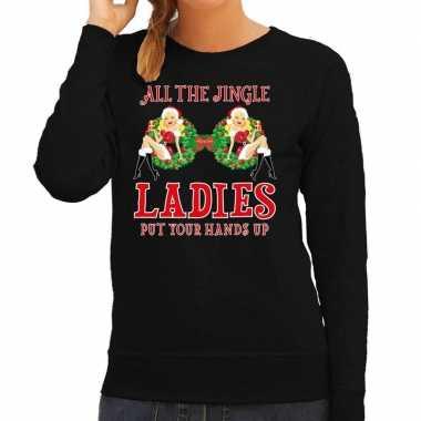 Foute kersttrui / sweater single / jingle ladies zwart dames