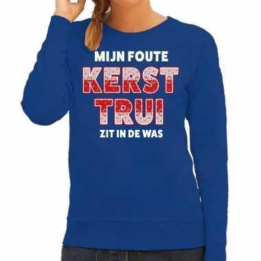 Foute kersttrui / sweater zit de was blauw dames