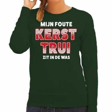 Foute kersttrui / sweater zit de was groen dames
