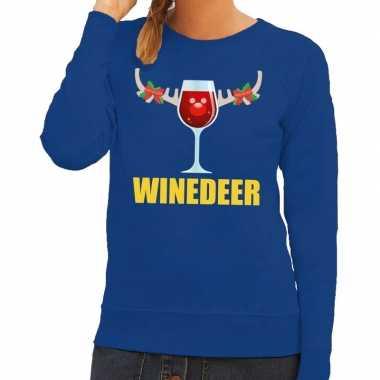 Foute kersttrui winedeer blauw dames
