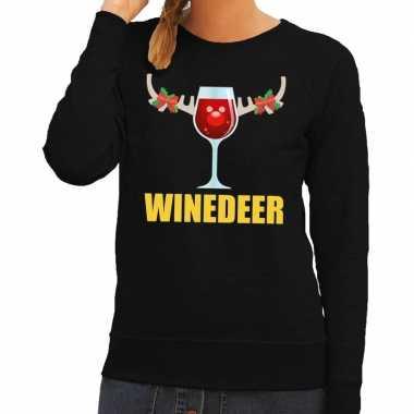 Foute kersttrui winedeer zwart dames