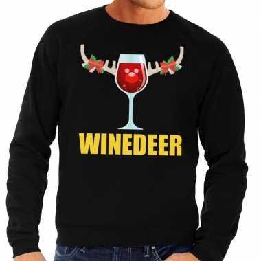 Foute kersttrui winedeer zwart heren