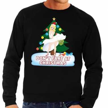 Foute kersttrui zwart dont fart at christmas heren