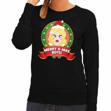 Foute kersttrui zwart merry x mas boys dames