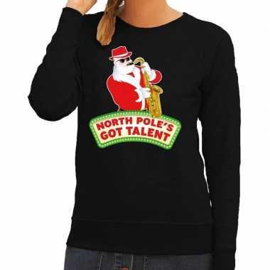 Foute kersttrui zwart north poles got talent dames