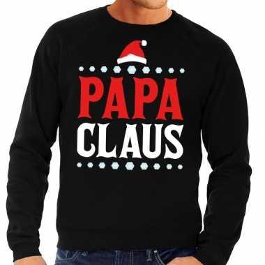 Foute kersttrui zwart papa claus heren