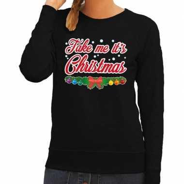 Foute kersttrui zwart take me its christmas dames