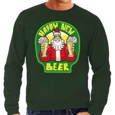 Foute nieuwjaar / kersttrui happy new beer / bier groen heren