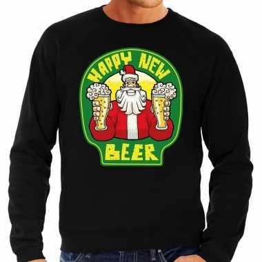 Foute nieuwjaar / kersttrui happy new beer / bier zwart heren