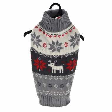 Grijze gebreide foute kersttrui sneeuwvlokken rendieren huisdieren