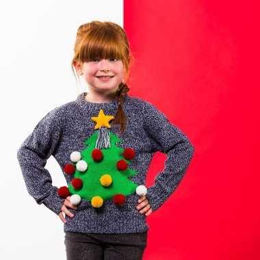 Grijze kerst trui 3d kerstboom kinderen